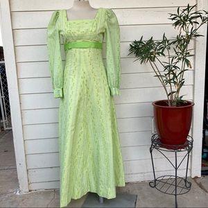Vintage 60s 70s Gunne Sax Bridgerton Prairie Maxi Dress Floral Lace Empire Belt
